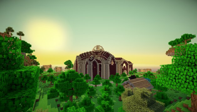 Sunrise in a modded version of Minecraft