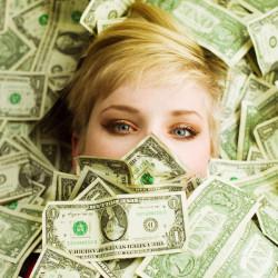 Girl Hiding in Dollars Money Wallpaper